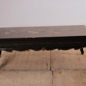 """3'6"""" x  1'9"""" Black Lacquer Chinese Flower Pattern Coffee Table"""