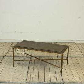 3' Brass Cross Base Coffee Table with Wooden Top