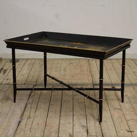 Black & Gilt Rectangular Tolware Tray Top Coffee Table on Cross  Base