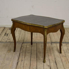 """2'4"""" Kingwood Louis Style Coffee Table with Black Marble Top  Gilt Bronze Mounts & Handles"""