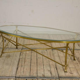 """4'10"""" Oval Brass Coffee Table on  x -Frame with Bevelled Glass Top & Paw Feet"""