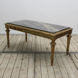 """3'3"""" x  20""""  Carved Giltwood Coffee Table with Brown Marble inset Top"""