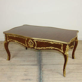 """3'6"""" x  2'2"""" Gilded Brass Edge Coffee Table with Parquetry inlaid Top"""