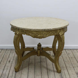 """2'6"""" Circular Cream Marble Top Coffee Table on Giltwood Carved Base"""