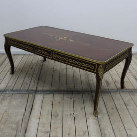 """4'1"""" x  2' Mahogany & Brass Louis Style Coffee Table with inlaid Top"""