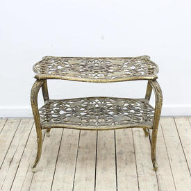 """1'11"""" x  15"""" Brass Antique Gold Fretted 2 Tier Coffee Table with Bird Pattern"""