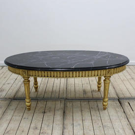 4' Gilt Oval Coffee Table with Black Painted Top