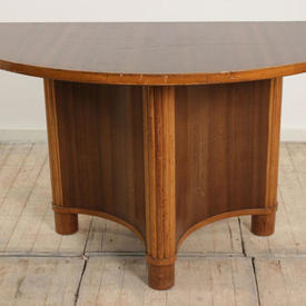 4' Walnut Deco Curved Front Console Table