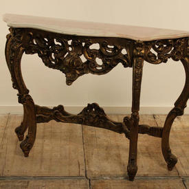 4' Carved Gilt French Console Table with Marble Top