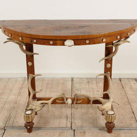 Polished Oak Semi Circular Console Table with Antler Decor