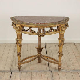 """2'8"""" Carved Gilt Semi Circular Table with Marbleized Top"""