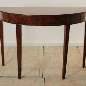 """3'8"""" Walnut & Yew Wood Curved Console Table"""
