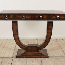 4' Rosewood Console Table on Lyre Base 4  Drawers Finished with Chrome Edging