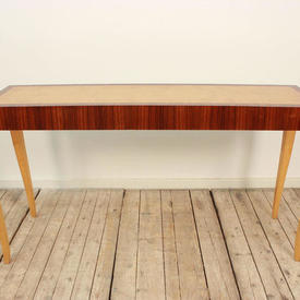 """4'9""""  x  1'4"""" Rosewood & Burr Maple Console Table on Maple Shaped Legs"""