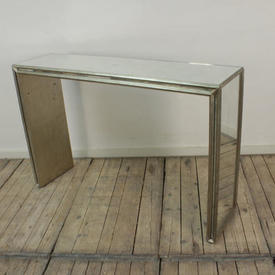 """4'3"""" Silver Gilt Console Table with Verre Eglomise inset Top & Sides"""