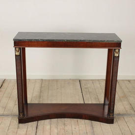 """3'4"""" Mahogany Empire Style Console Table with Green & Black Marbelised Top"""