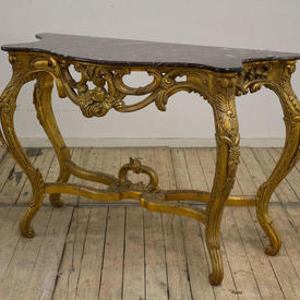 """4'6"""" Ornate Carved Giltwood Console Table with Purple & Black Marble Top on  x -Frame Stretcher"""