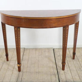 4' Walnut & Golden Mahogany Regency Console Table with Marquetry inlay