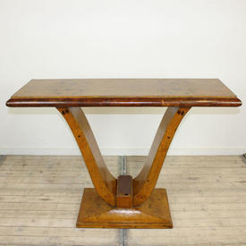 4' Walnut Lyre Base Console Table