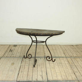 """3'10"""" Rustic Wooden Top Console Table with Iron Scroll Decor Tri-Leg Base"""