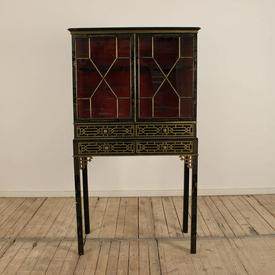 "2'9"" Chippendale Chinoiserie Decor Display Cabinet with Glazed Doors"