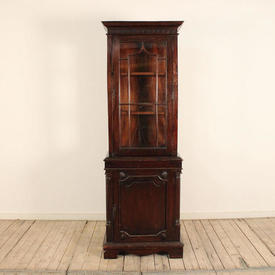 2' Mahogany Glazed Top Display Cabinet with Cupboard Base & Reeded Columns