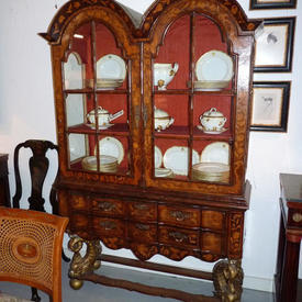 "4'4"" Dutch Marquetry Georgian inlaid Dome Top Display Cabinet on Dolphin Base"