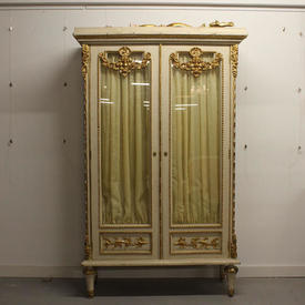 "6'8"" x  3'6"" Cream & Gilt Painted Glass Display Cabinet"