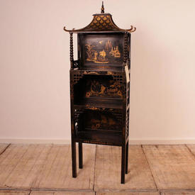 Black & Gilt Chinese Pagoda Style Cabinet