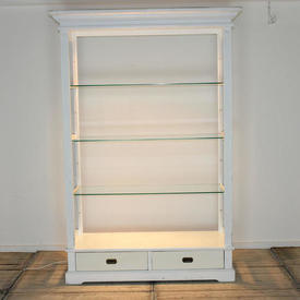 White Open Display Cabinet with Drawers & 3 Glass Shelves