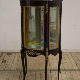 "Mahogany ""Vitrine"" with Mirror inset Back with Two Mirror Glass Shelves"