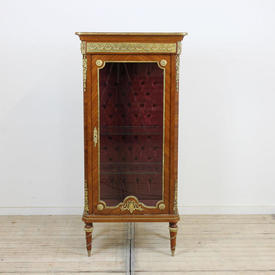 "4'7"" x  2'3"" Mahogany & Brass Louis Style Glass Display Cabinet with Marble Top"