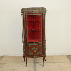 Mahogany Single Door Glazed Display Cabinet with Ormolu Decorative Mounts & Red interior