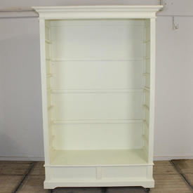 White Display Cabinet with Closed in Back & Sides & 3 Glass Shelves