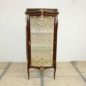 "5'9"" Mahogany Gilt Bronze Mounted Glass Display Cabinet with 2  x  Glass Shelves & Quilted inner Back"