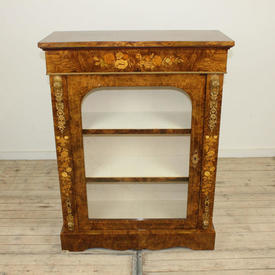 "3'6"" x  2'8"" Figured Walnut Music Cabinet with Single Glazed Door Gilt Bronze Mounts & 2 Shelves"