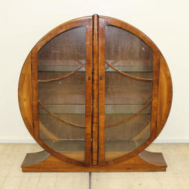 4' 30'S Walnut Circular 2 Door Display Cabinet