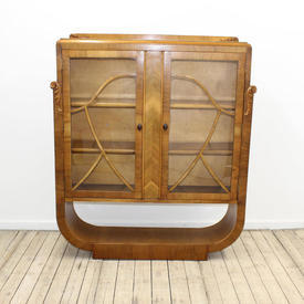 "4'4"" x  3'7"" Walnut 30'S 2 Door Display Cabinet with U Shaped Base"