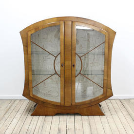 "4'1"" Walnut 30'S Concave Curved Side Display Cabinet"