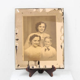 30cm  x  24cm Pink Glass Venetian Style Photo Frame