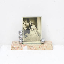20cm French Art Deco Photo Frame with Silver Balls on Marble Base