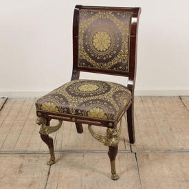 Mahogany French Empire Side Chairs with Ormolu Detail with Griffin Heads, Blue & Gold Upholstery
