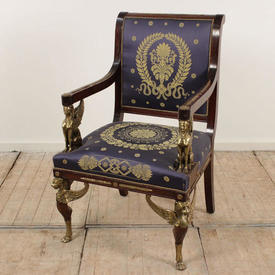 Mahogany French Empire Elbow Chairs with Ormolu Detail And Griffin Head, Blue & Gold Upholstery