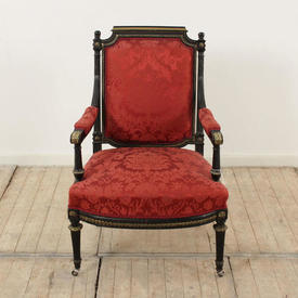 French Empire Black & Brass Elbow Chair, Red Damask Seat  & Back