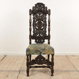 "Carved Oak Jacobean Style High Back Occasional Dining Chair (H4'3"" x w1'7"" x d1'6"")"