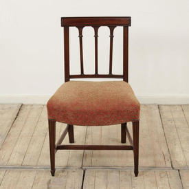 Mahogany Hepplewhite Column Back Occasional Dining Chair with Beige & Brown Seat