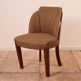 Walnut 30'S Occasional Dining Chair in Beige Velvet Upholstery