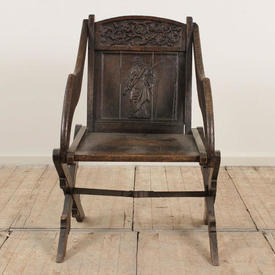 Carved Oak & Frame Chair with Carved Gent on Back Panel