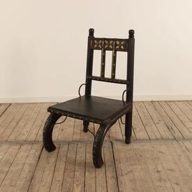 Low Dark Oak & Hardwood Occ Chair with Rail Patt Back