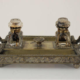 2 Handled Brass Desk Set with 2 Glass ink Pots